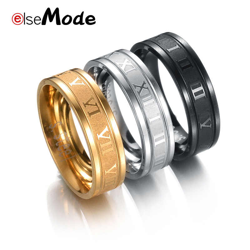 ELSEMODE 8 mm 316L Stainless Steel Wedding Band Ring Roman Numerals Gold Black Cool Punk Rings for Men Women Fashion Jewelry