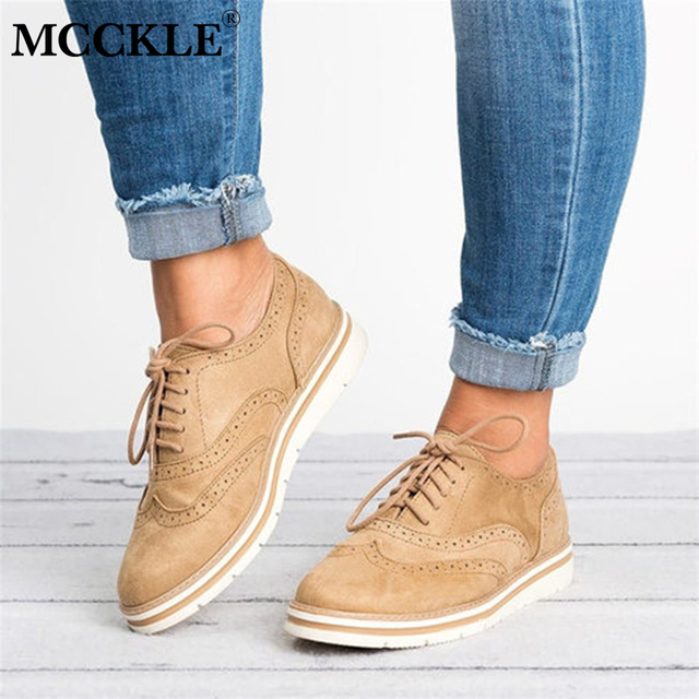 MCCKLE בתוספת גודל נשים שטוח הולו פלטפורמת נעלי אוקספורד בריטי סגנון גבירותיי קריפרס נעל מבטא עבור נקבה תחרה עד הנעלה