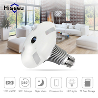 Hiseeu 360 Degree Wireless IP Camera Bulb Light FishEye Smart Home CCTV 3D VR Camera 1