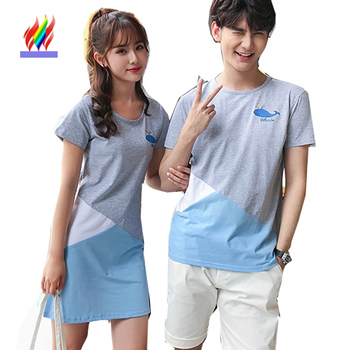 Couple Matching Lovers Clothes 2018 Summer Dresses Cute Japan Korea Preppy Style Short Sleeve Casual Patchwork Cute Sweet Dress sensory scout