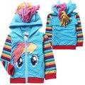 Comercio niñas niños my little pony chica zip hoodie chaqueta de la capa linda de la historieta niños ocasionales terry Sudaderas ropa de los niños