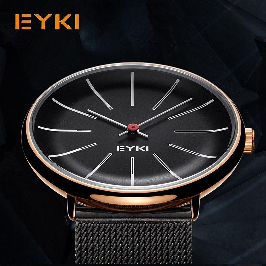 EYKI reloj de pulsera Mech tejido para hombre clásico Simple Milanese Acero inoxidable hombre de negocios reloj de cuarzo Japón movimiento con caja