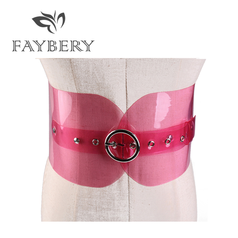 Western PVC Wide Belts for Women Jeans Wedding Dress Transparent Colorful Female Strap Silvery Pin Buckle Belt for Ladies Girl in Women 39 s Belts from Apparel Accessories