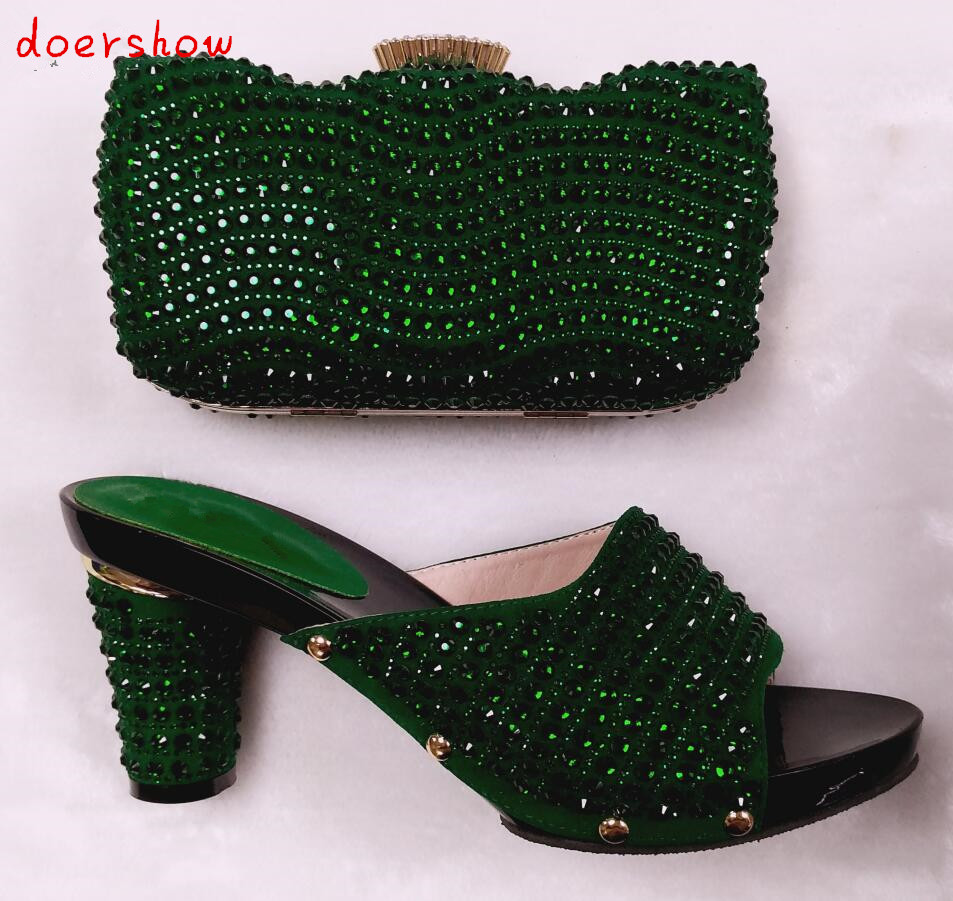doershow Italian Shoes With Matching Bags Rhinestones High Quality African Shoes And Bags Set for Wedding Size 37-43 HHY1-28 italian shoes with matching bags set for