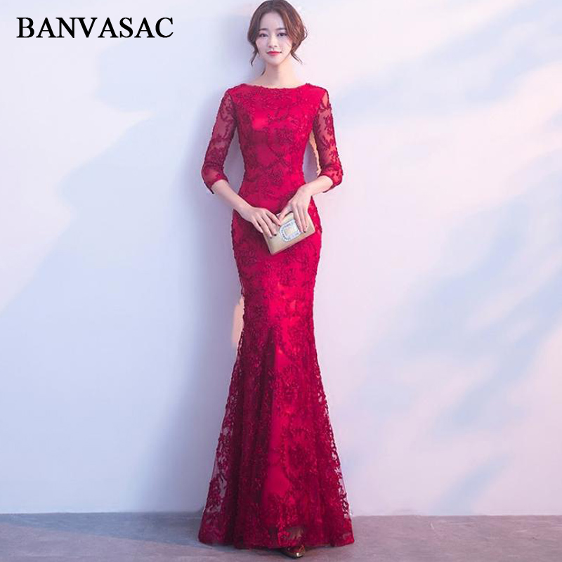 BANVASAC 2018 O Neck Lace Appliques Mermaid Long   Evening     Dresses   Party Illusion Three Quarter Sleeve Prom Gowns