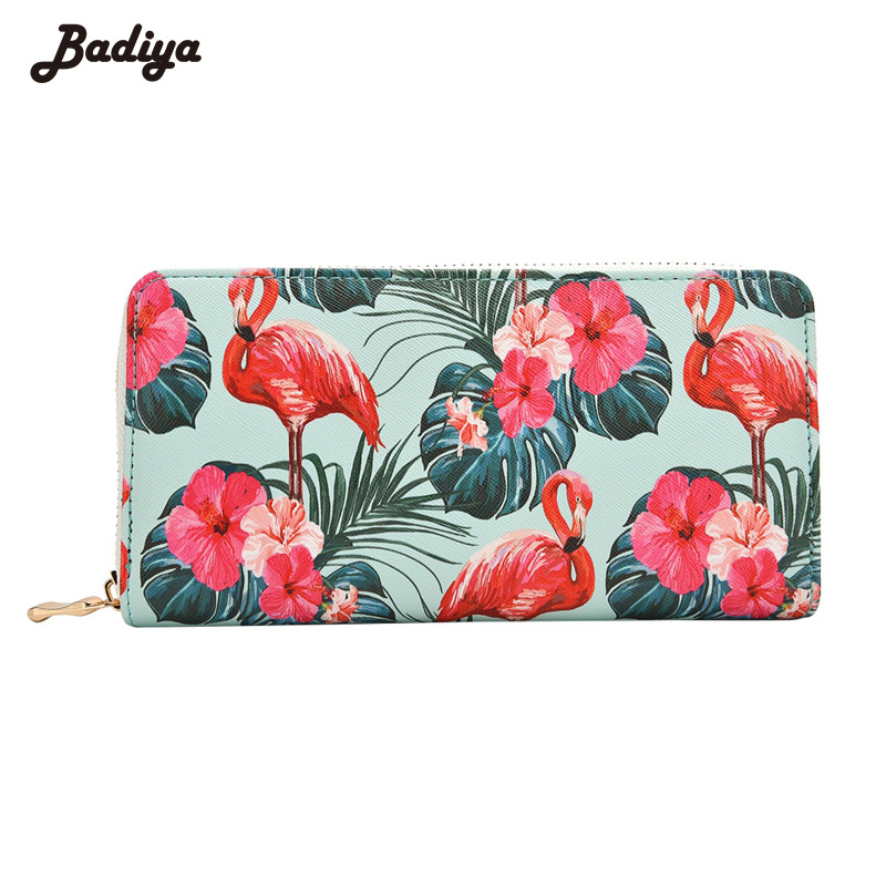 Badiya Women's Flamingo Floral Print Fashion Long Purse Large Capacity Clutch Phone Bag PU Leather Ladies Card Holder Wallets long women wallets pu leather large capacity card holders ladies zipper clutch wallets print pineapple purse carteira feminina