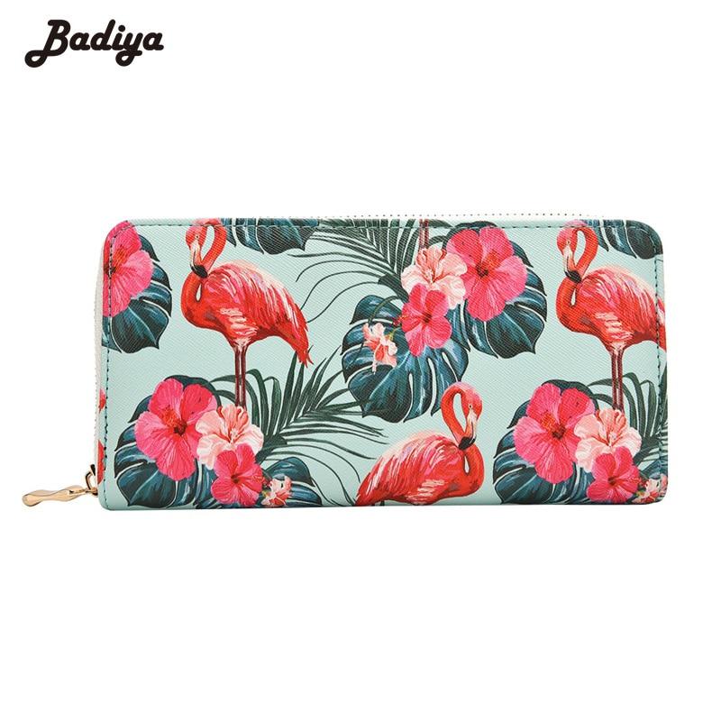Badiya Women's Flamingo Floral Print Fashion Long Purse Large Capacity Clutch Phone Bag PU Leather Ladies Card Holder Wallets
