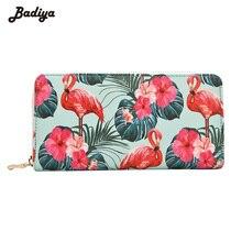 Badiya Для женщин Фламинго цветочный Модные принты Длинный кошелек большой Ёмкость сцепления телефон сумка из искусственной кожи держатель для карт кошельки
