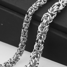Granny Chic 6/8mm Mens Boys Flat Byzantine Necklace Silver Tone Promotion Stainless Steel Chain Gift Hot Sale Jewelry
