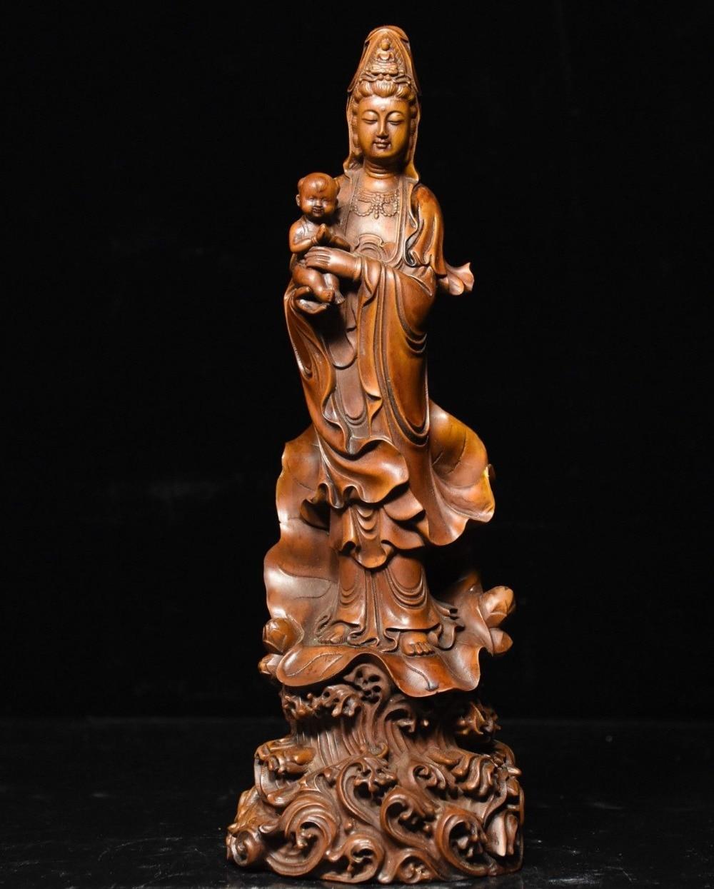 Crafts statue Chinese Buddhism Boxwood wood exquisite give son Guan Yin Kwan-yin Buddha StatueCrafts statue Chinese Buddhism Boxwood wood exquisite give son Guan Yin Kwan-yin Buddha Statue