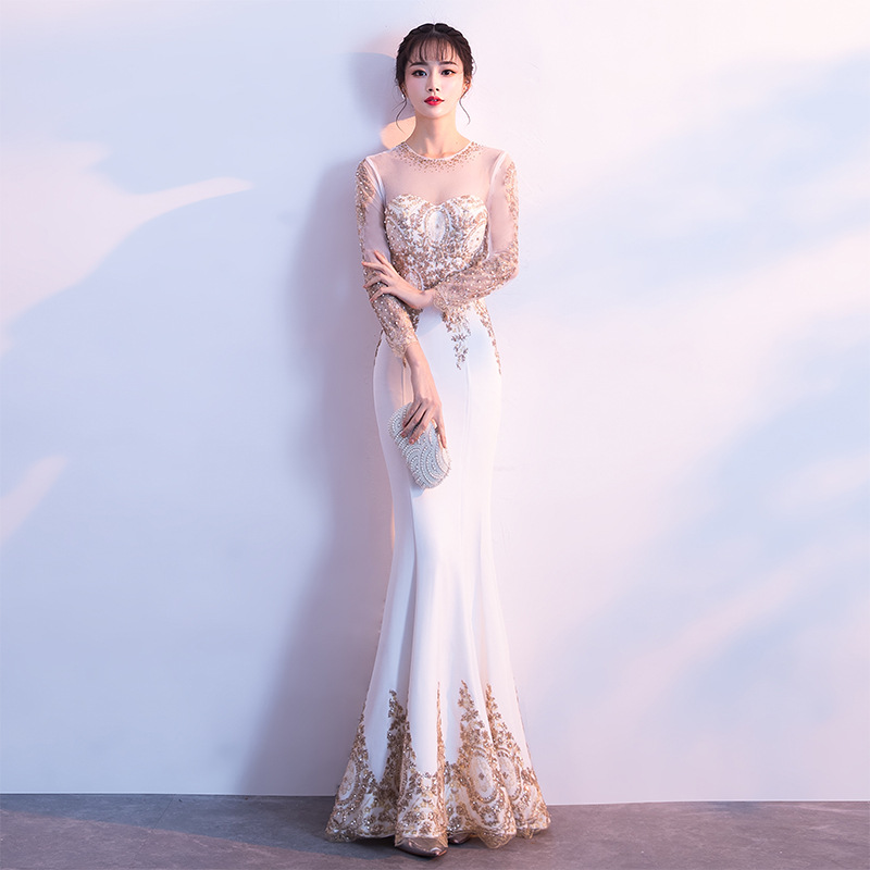 Beauty Emily White   Evening     Dresses   2019 O Neck Sequined Mermaid Full Sleeve Formal   Evening   Party Prom   Dress   Floor-Length