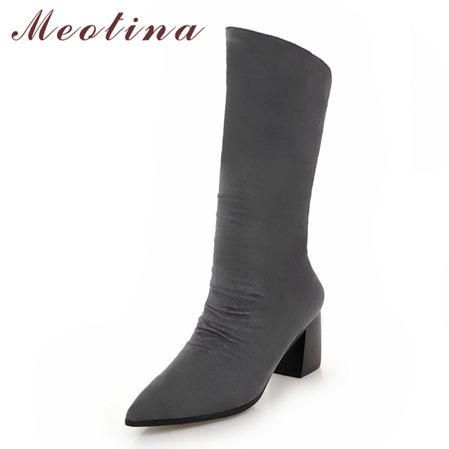 Meotina Winter Boots Shoes Pleated Women Mid Calf Boots Zipper Pointed Toe Thick High Heel Fashion Western Boots Black Beige