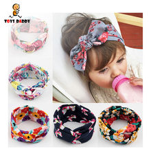 1PC Retro Vintage Baby Printed Headband Rabbit Hairbands Bow Knot Kids Children Elastic Turban Boys Girls Hair Band Play Mats(China)