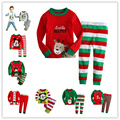 2017 Christmas cotton Long sleeves girls  baby kids children clothing sets boys suits pajamas 2 piece 2-7 age sleepwear fashion
