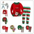 2017 Christmas cotton Long sleeves girls  baby kids children clothing sets boys suits pajamas 2 piece 2-7 age sleepwear fashion