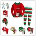 2017 Natal de algodão de mangas Compridas meninas do bebê crianças roupas crianças define meninos ternos pijamas 2 peça 2-7 anos de idade sleepwear moda
