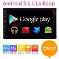 Android 5.1 2din Coche Multimedia Reproductor de doble din gps del coche grabadora de cinta de cassette jugar Estéreo autoradio navegación GPS Navigator