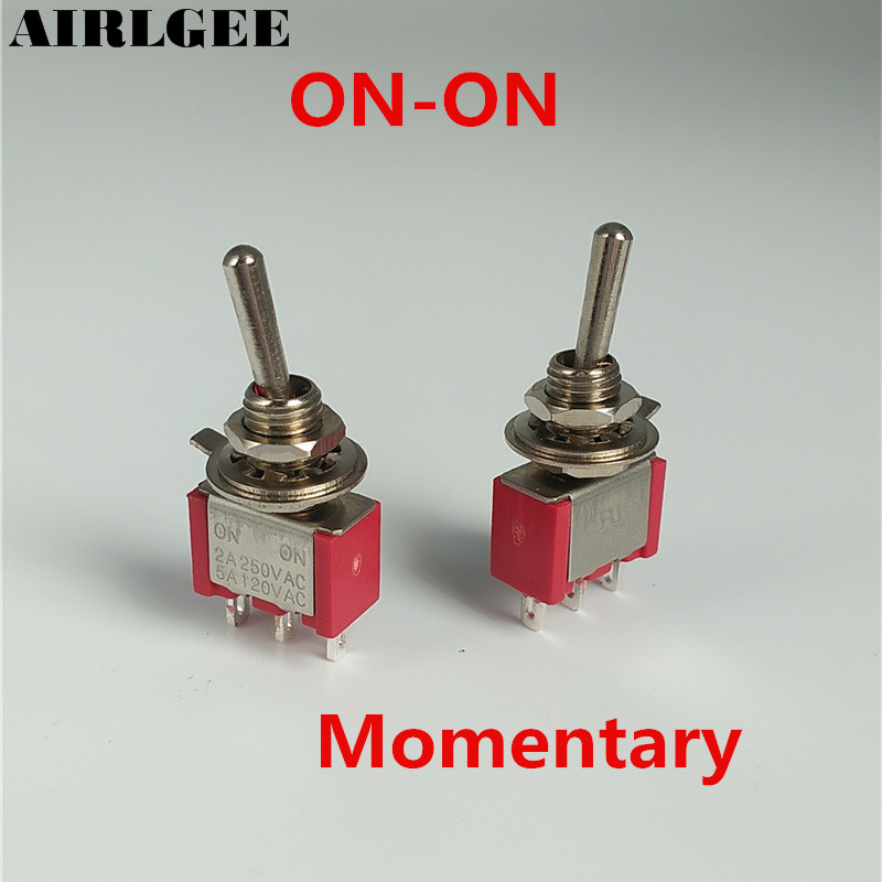 цена на 5 Pcs AC 250V/2A 120V/5A Momentary Type Self Reset SPDT 2 Positions ON-ON Toggle Switches