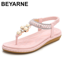 BEYARNEPlus Size 4 12 Bohemian Crystal Sandals Women Shoes Rhinestone Lady Flip Flops Pearl Slip On Tong Female Flat  Beach Shoe