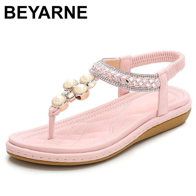 BEYARNEPlus rozmiar 4 12 artystyczny kryształ sandały damskie buty Rhinestone Lady klapki Pearl Slip On Tong kobieta płaski plażowy but