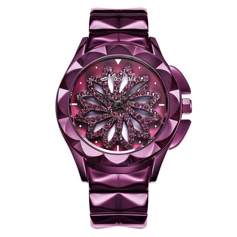 Mulher assistir purple flower pattern virar rodada Moda Estilo das senhoras assistir À Prova D' Água de Aço relógio de Pulseira do sexo feminino - 5