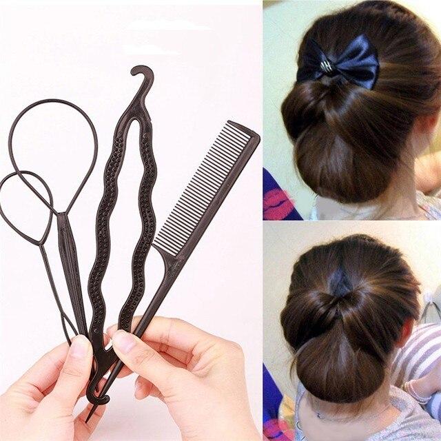 4pcs Set Women Hair Sticks Bun Maker Diy Tools Women Hair
