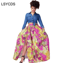 2018 Summer Traditional Flower Print Skirts Faldas Largas Vintage Maxi Long African Asymmetric Skirt Purple Blue Pink Red