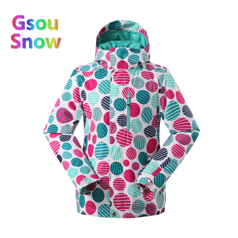2017 Gsou Sonw Sports de plein air hiver femmes Camouflage snowboard plus chaud vestes de Ski imperméable vague point Ski vêtements