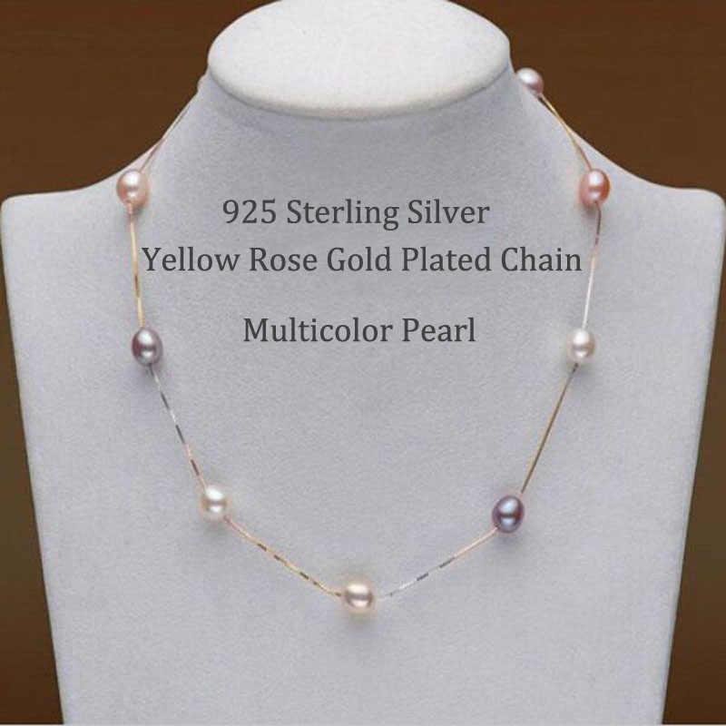 Ashiqiリアルピュア 925 スターリングシルバーチェーンネックレス 7-8 ミリメートル天然淡水真珠の宝石ギフト