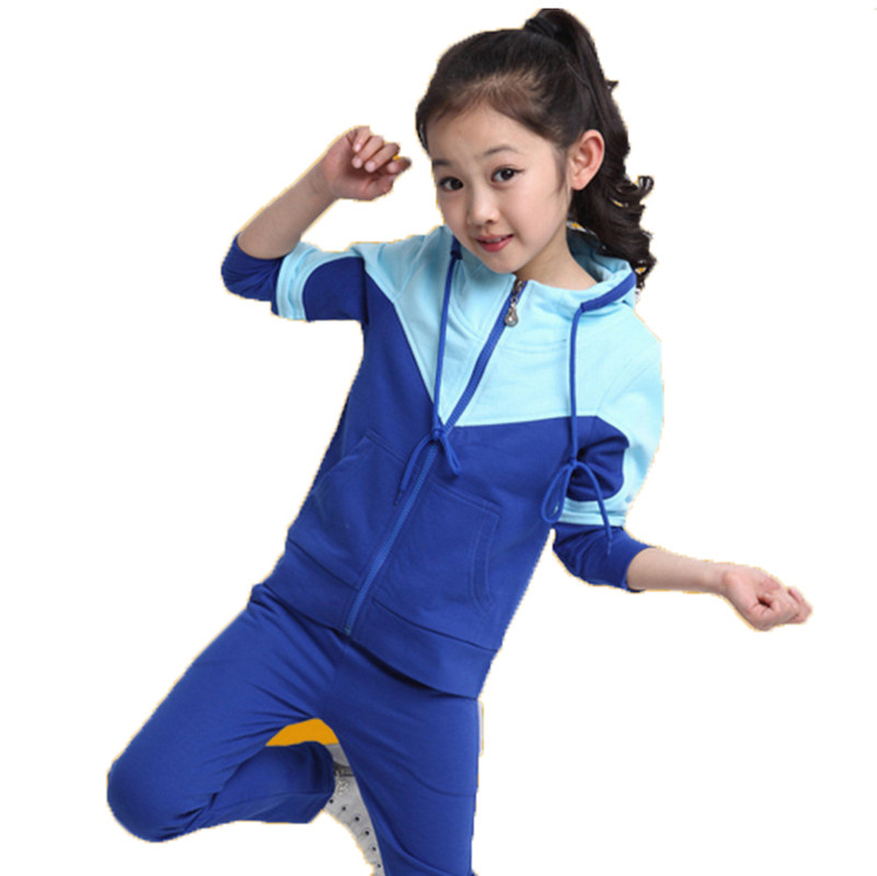 New Baby Girls Sets Cotton Spring Autumn Fashion Sports 2 Pieces Long Sleeve Hooded Suits Girls zipper Clothes 2014 spring autumn new fashion girls sports suits zipper coat trousers flowers print big girl clothes sets children sportswear