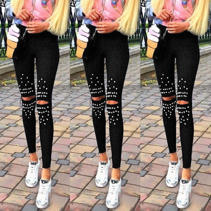 Plus Size Leggings Knee Hole Leggings 2018 New Fashion Stretch Cut Holes Beads Decoration Women Pants Skinny High Waist Leggings