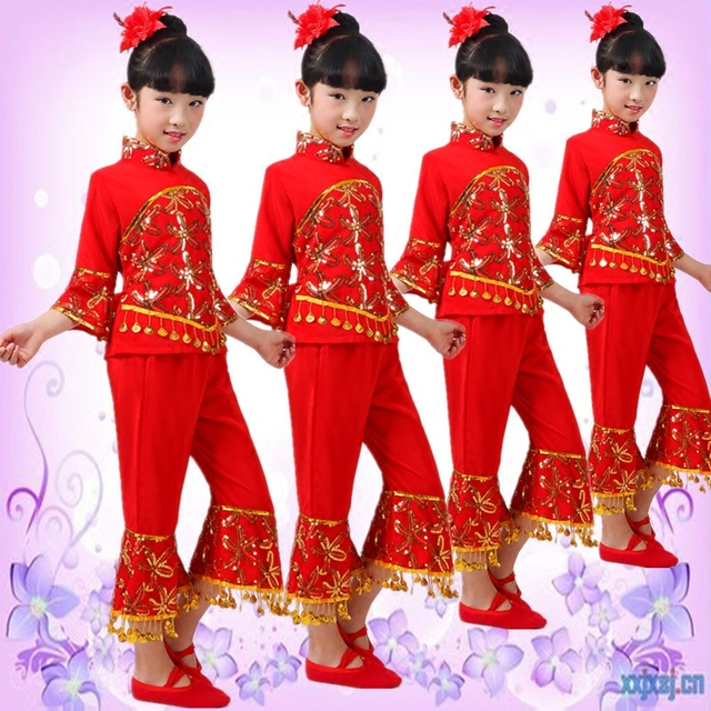 7c2bb25541b5 Chinese Folk Dance Costumes Children Traditional Chinese Performing ...