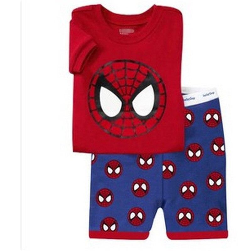 10 Kids Boys Girls Pajamas Cartoon Spider-Man Set Baby Sleepwear Cotton Superhero Costumes Shorts + Short Sleeve Tees Baby Clothing