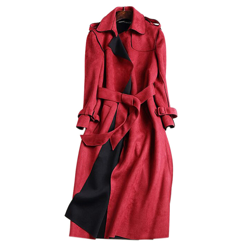 2018 New Autumn Suede Trench Coat Women Abrigo Mujer Long Elegant Outwear Female Overcoat Slim Red Suede Cardigan Trench C3487