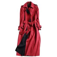 2019 New Autumn Suede Trench Coat Women Abrigo Mujer Long Elegant Outwear Female