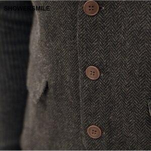 Image 3 - Showersmile ヘリンボーンストライプグレーのスーツのベストシングルブレストヴィンテージチョッキ男性イングランドスタイル秋プラスサイズジレオム