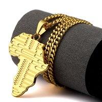 טוב חדש זהב אפריקאי מפת מתנות תכשיטי שרשראות תליון היפ הופ ראפר מסיבת ריקודים בסגנון