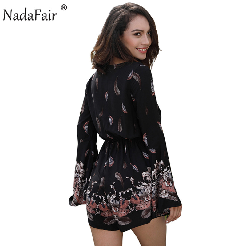c1530d9667df Aliexpress.com   Buy Nadafair women v neck flare sleeve floral print  playsuits boho casual loose beach rompers white from Reliable Rompers  suppliers on ...