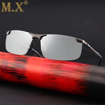 2019 brand Photochromic Sunglasses Men Polarized Chameleon Discoloration Sun glasses for men fashion rimless square sunglasses 2