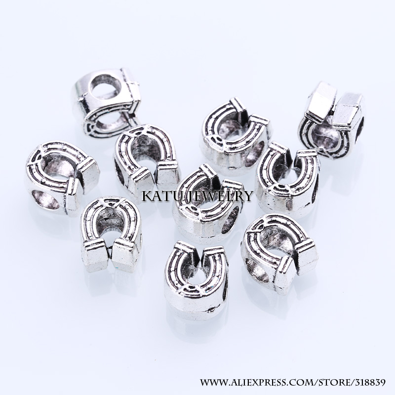 Antique Silver Metal Horseshoe Beads Fit Pandora Charms DIY Zinc Alloy Horseshoe Loose Beads for Jewelry Making 30pcs BC1052