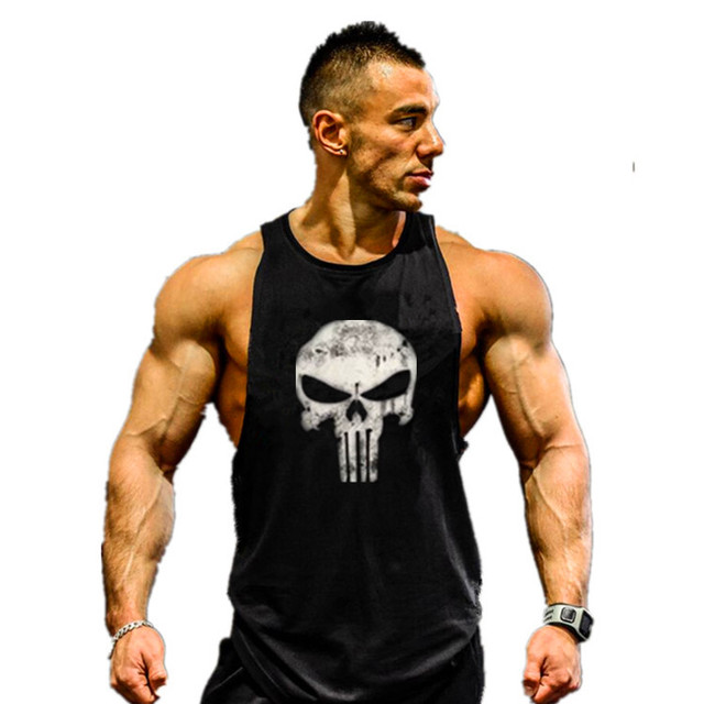 Skull Bodybuilding Stringer Tank Tops men Gyms Stringer Shirt Fitness Tank Top Men Gyms Clothing Cotton Vest hoodies 4