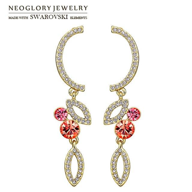 Neoglory Austria Rhinestone   Czech Rhinestone Long Drop Earrings Elegant  Geometric Design Light Yellow Gold Color Fashion 0f085b8373f0