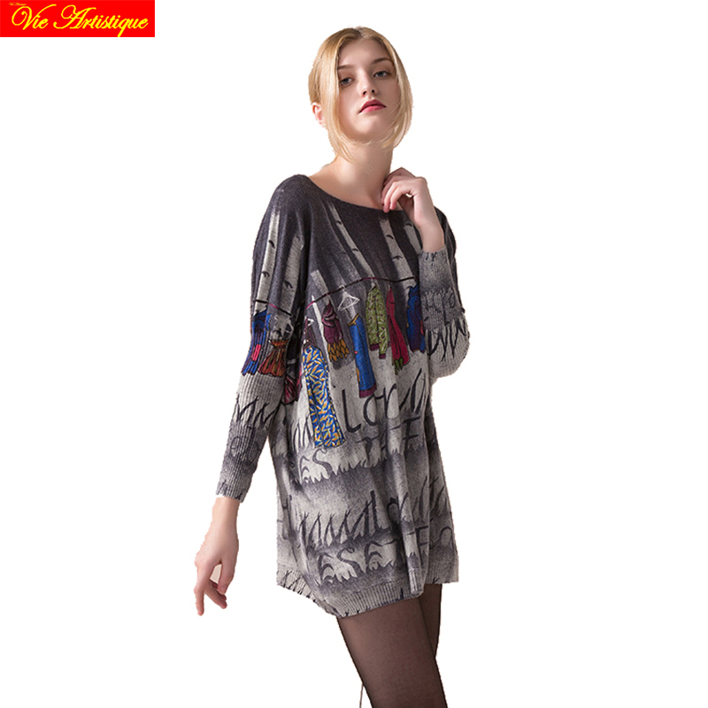 womens sweat female long Christmas sweaters and pullovers loose oversize turtleneck printed fashion cloth boho 2018 spring VA