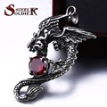 Steel soldier drop shipping jewelry vintage dragon pendant necklace with red stone stainless steel men jewelry as gift