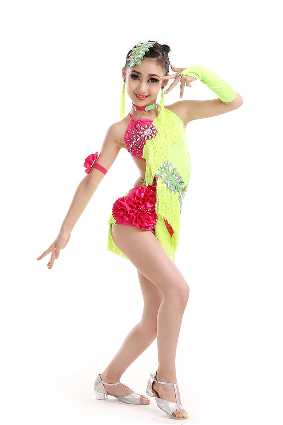 Free Shipping Robe Danse Latine Femme Girls Fringe Latin Dress Kids Salsa Dance Costume Samba/Ballroom Dresses Tassel Skirts