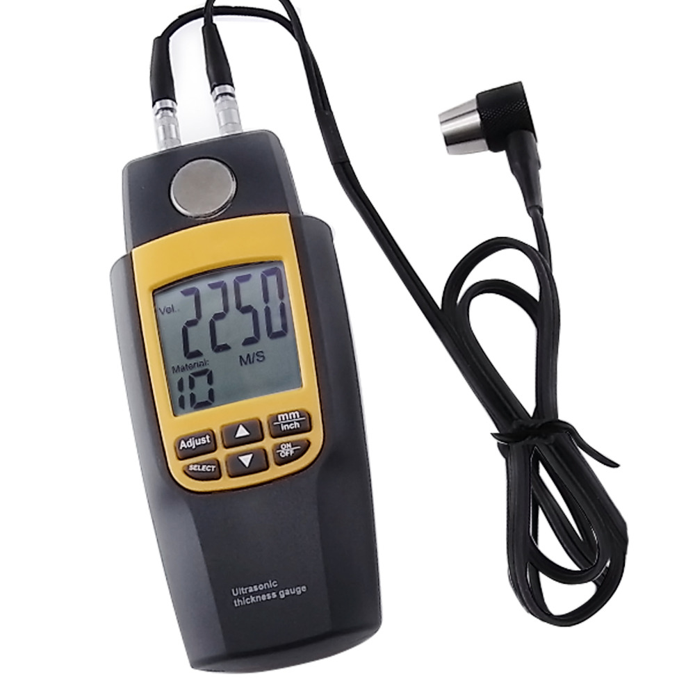 Digital Dual Ultrasonic Thickness Meter Gauge Tester Velocity 1.2~220mm Iron Seel Glass Plastics Brass Gold Silver Zinc