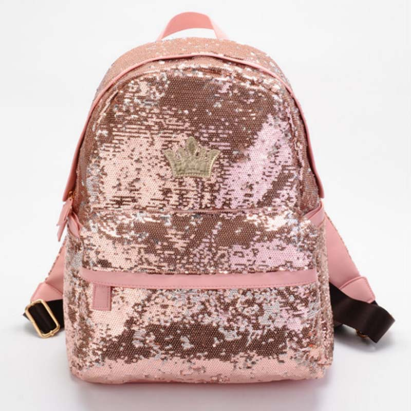 US $24 39 |New 2016 Cute Casual Women Colorful Canvas Backpacks Girl  Student School Travel bags Mochila Women Big Bag paillette bling bag-in  Backpacks