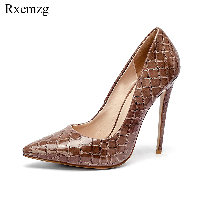Rxemzg newest fashion pattern shoes woman high heels ladies shoes 12cm heel pumps pointed toe sexy
