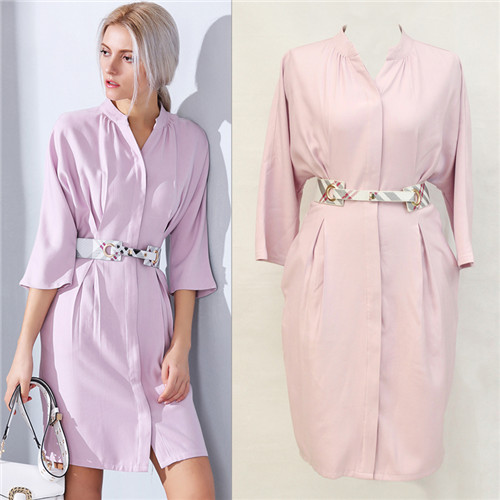best supplier top quality high street dresses solid color light blue three quarter sleeve pink casual