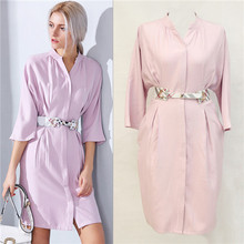 best supplier top quality high street dresses solid color light blue three quarter sleeve pink casual dress belted office wear